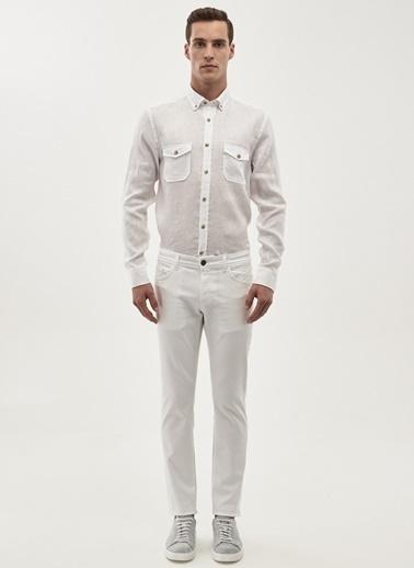 Altınyıldız Classics Uzun Kollu Keten Gömlek Beyaz